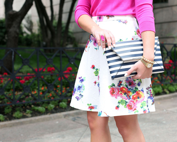 jcrew pink sweater, bows & sequins floral skirt, j.crew stripe clutch