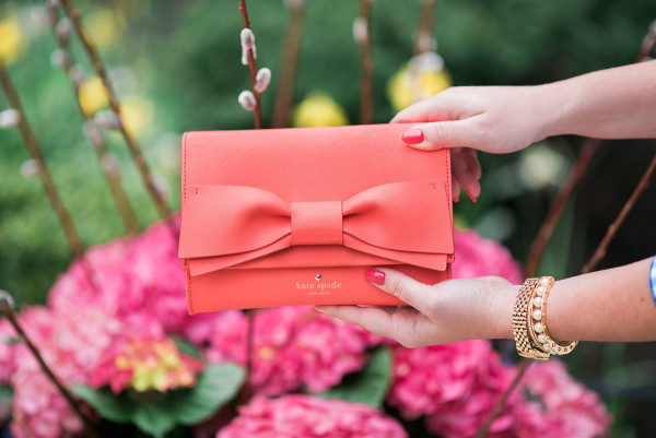 kate spade handbag coral bow clutch clement street francie
