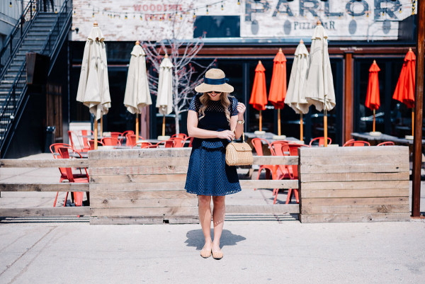 navy eyelet dress, navy bow sun hat, wicker basket handbag, basketweave flats rachel zoe