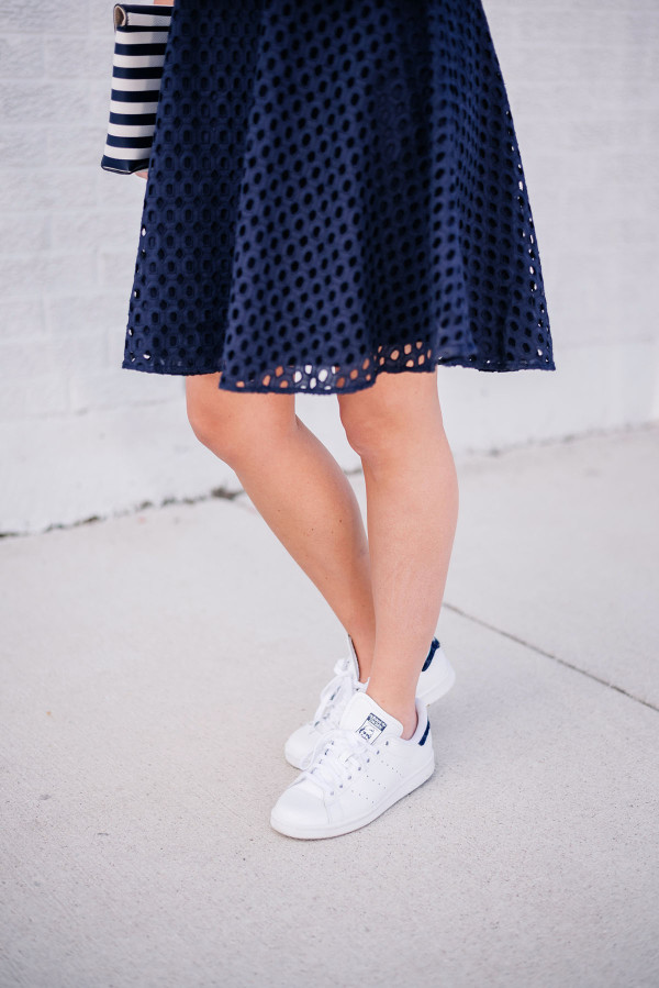 navy eyelet dress with white stan smith sneakers