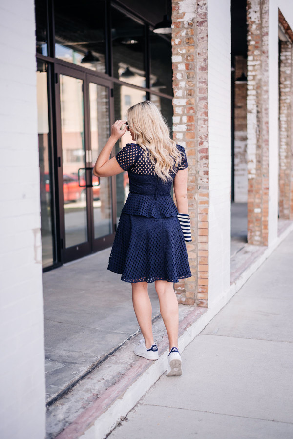 navy eyelet peplum dress with stan smiths