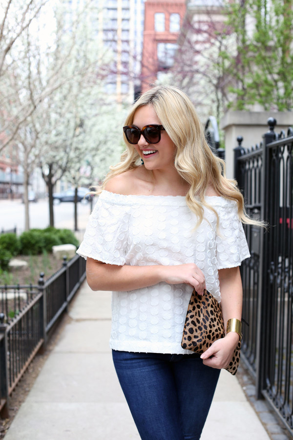 nordstrom white off the shoulder top