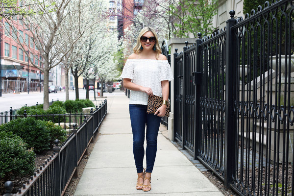 off the shoulder top, frame denim jeans, lace up sandals, clare v leopard clutch, celine sunglasses