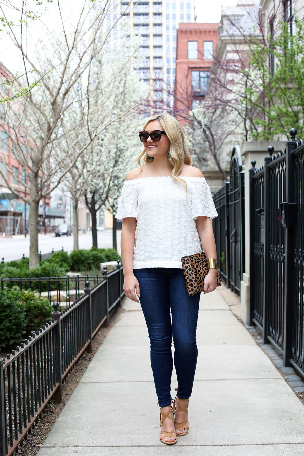 off the shoulder top, frame denim jeans, lace up sandals, leopard clutch, celine sunglasses