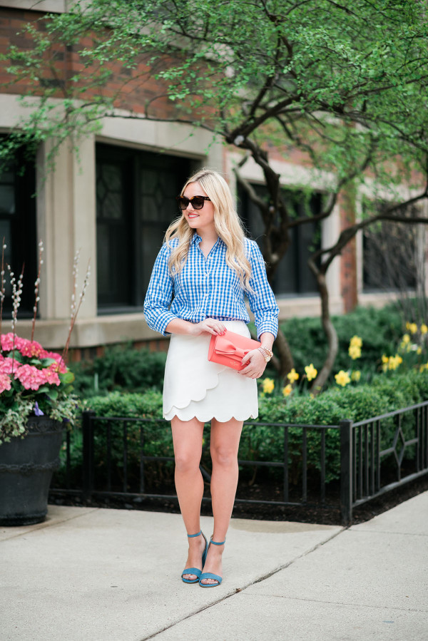 outfit ideas gingham shirt scalloped skirt