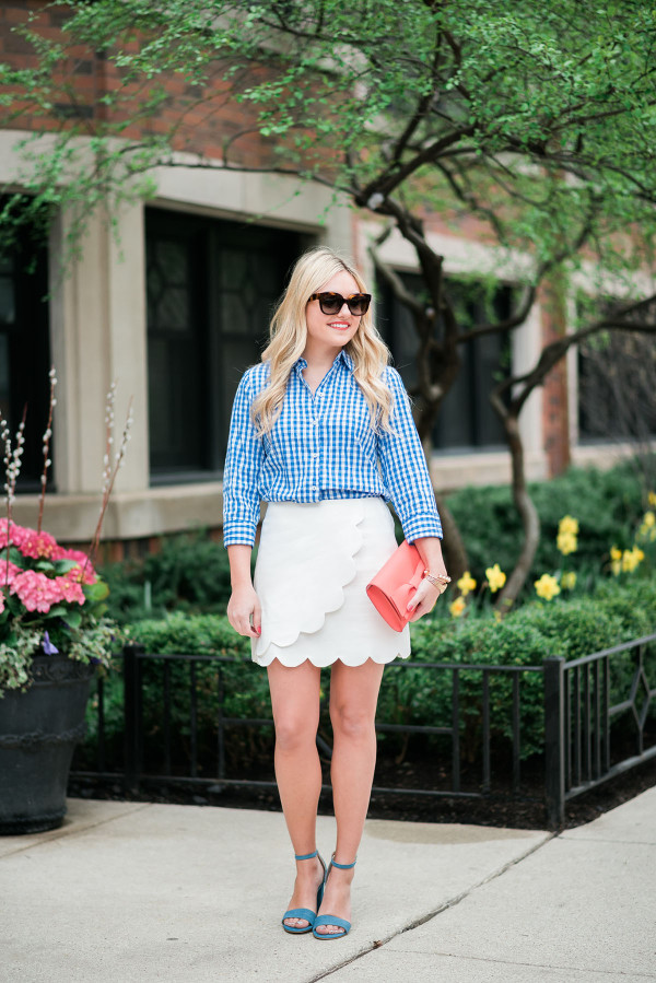 outfit ideas scalloped skirt gingham shirt