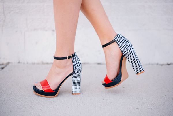 red white and blue platform sandals