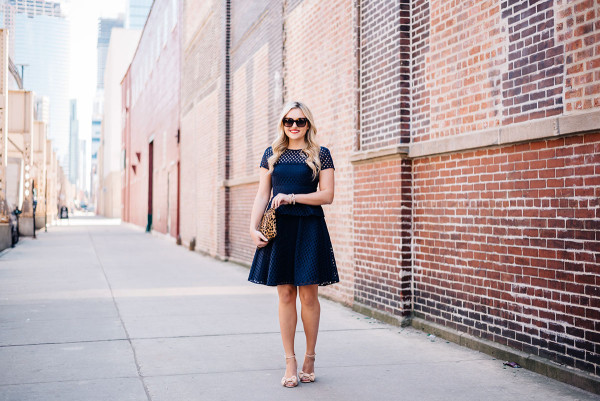 simple summer outfit navy dress with leopard print clutch