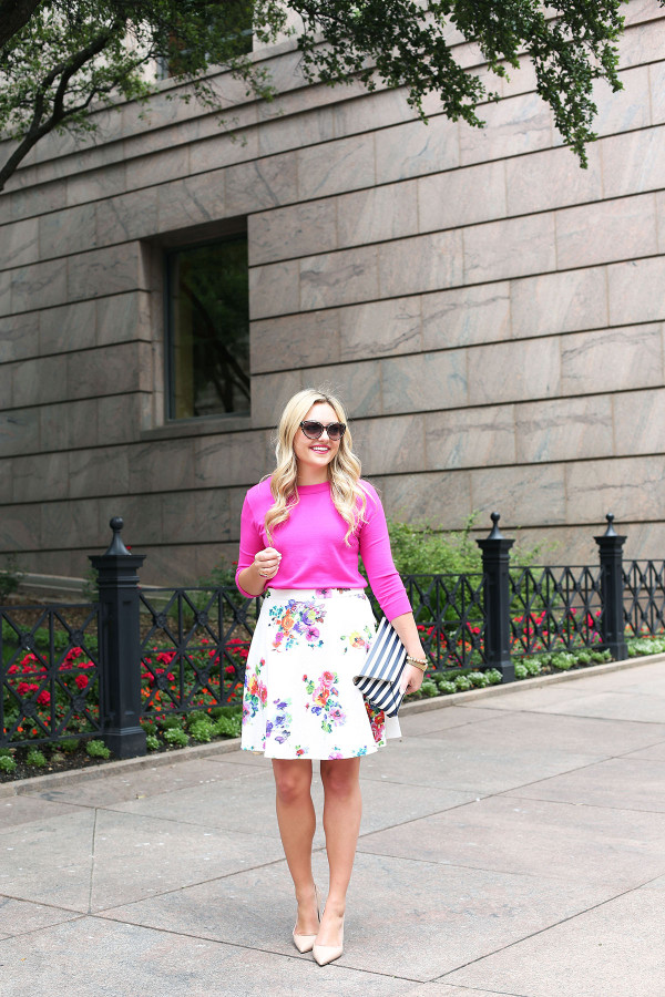 spring outfit bows & sequins floral skirt pink sweater navy blue striped clutch kate spade nude pumps