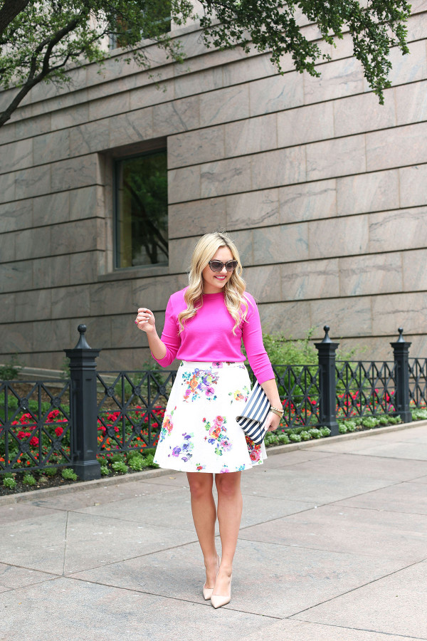 spring outfit print mixing floral skirt stripes
