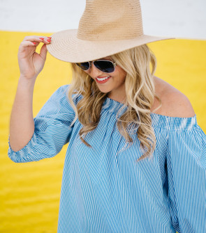 striped off the shoulder dress summer straw hat