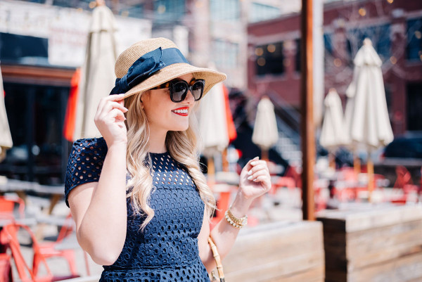 summer hat with navy ribbon bow