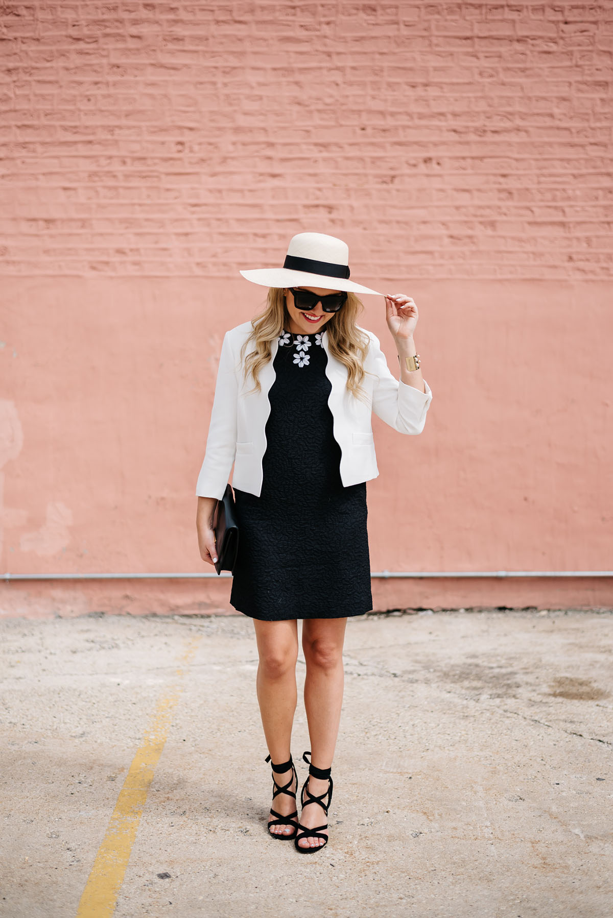 summer outfit little black dress dressed up with a blazer and heels and a hat