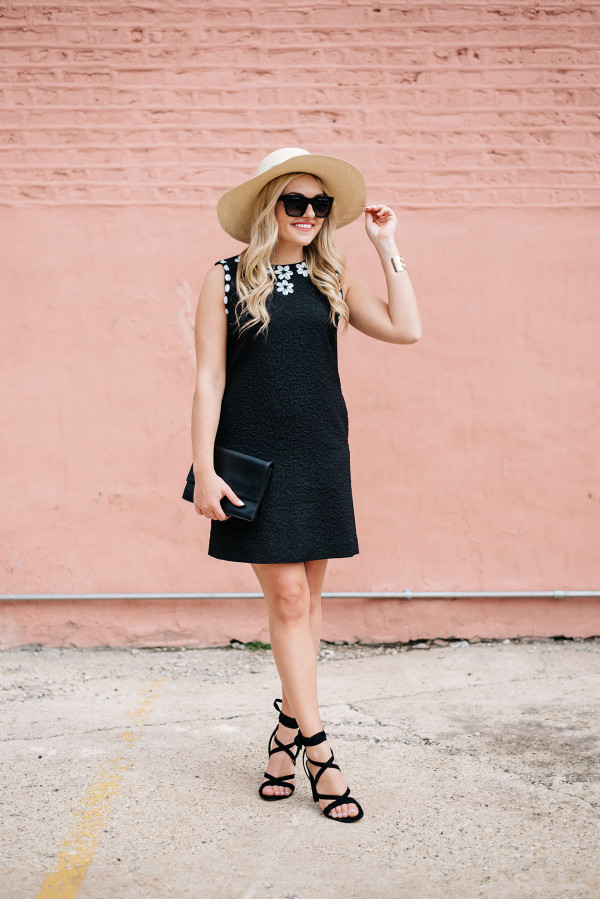 summer outfit little black dress lace up sandals with wide brim straw sun hat