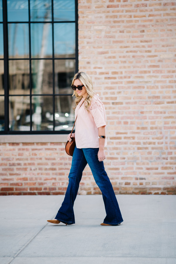 what to wear flared jeans