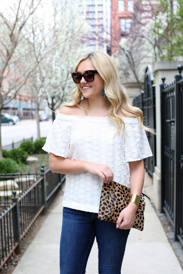 what to wear with a white off the shoulder top