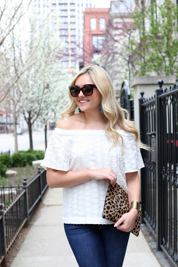 white off the shoulder top outfit ideas