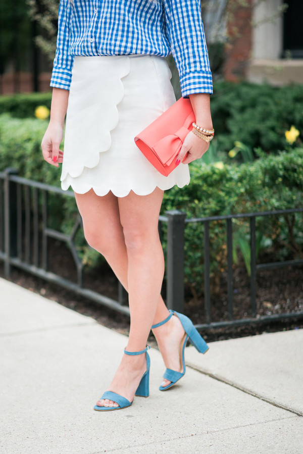 white scalloped skirt, blue ankle strap heels spring outfit ideas