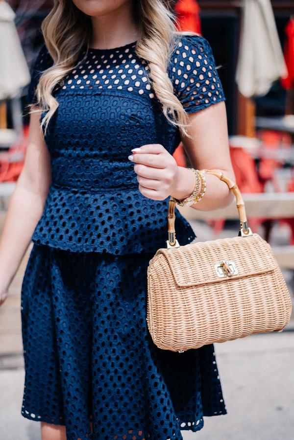 wicker rattan handbag purse tote satchel bamboo handle