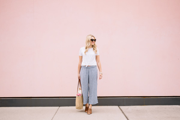 blue and white striped pants, white tee shirt, straw tote, weekend outfit