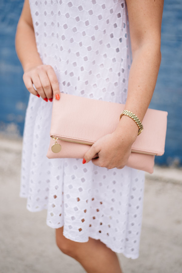 blush pink clutch white eyelet dress