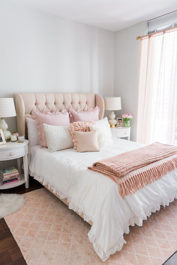 pink beige carpet and headboard skirt green beige walls my chicago bedroom parisian chic blush pink bows 738