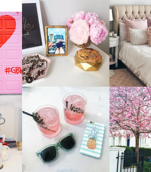 bows & sequins moodboard pink