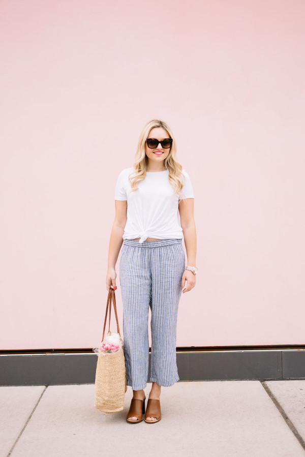 casual weekend outfit, white tee shirt, blue and white linen pants, straw market tote