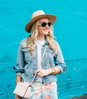 colorful summer outfit, wide brim straw hat, denim jacket, printed shorts, white aviator sunglasses