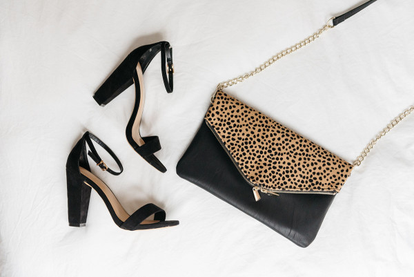 girls night out accessories, black ankle strap block heel pumps, leopard black leather clutch with gold removable strap