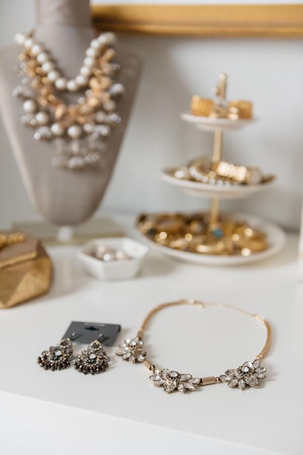 jewelry on vanity