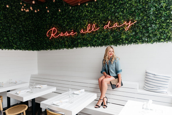 rosé all day pink neon sign restaurant