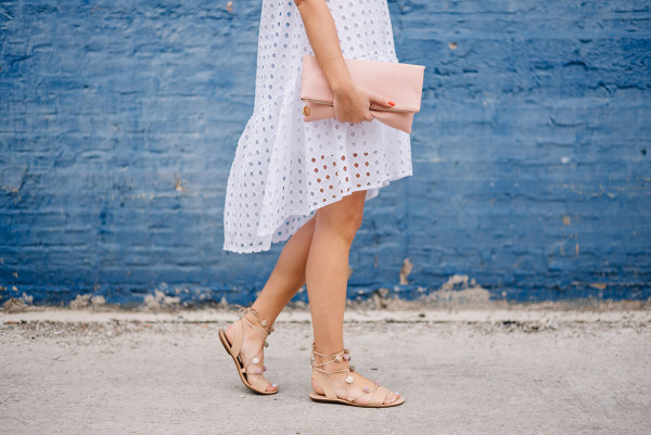 eyelet dress, blush clutch, loeffler randall pom pom sandals