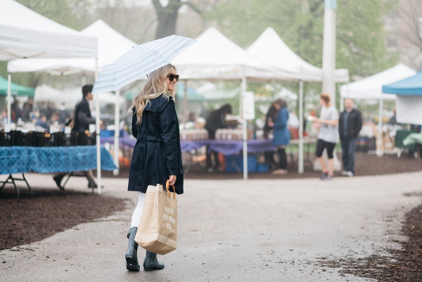 Bows & Sequins at Green City Market in Lincoln Park wearing a navy Tommy Hilfiger trench coat and blue Hunter rain boots.