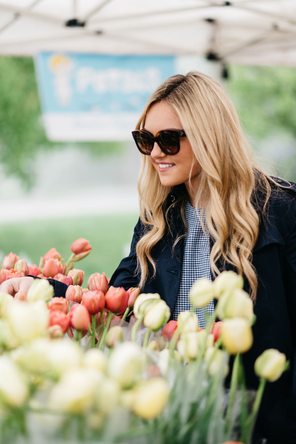Bows & Sequins at Green City Market in Lincoln Park wearing a navy Tommy Hilfiger trench coat, Celine sunglasses, and a blue gingham top.