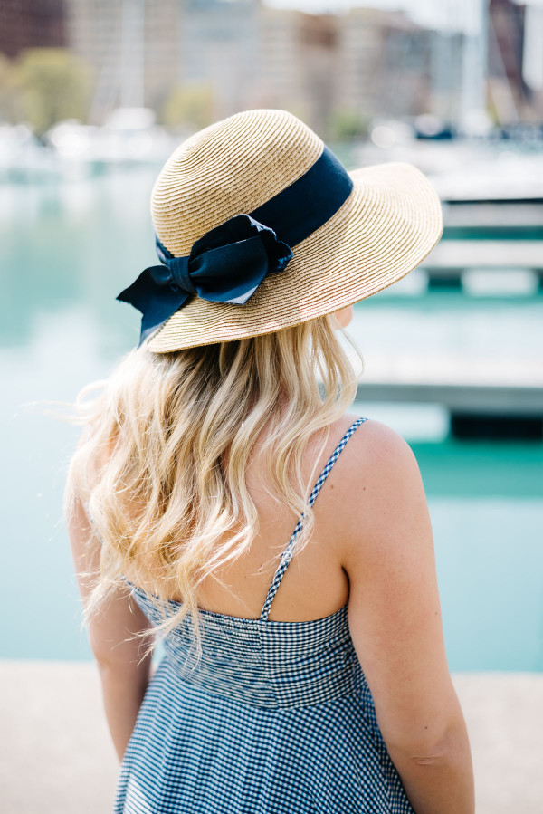 Blue Gingham Dress At Belmont Harbor In Chicago Bows