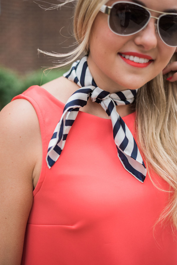 navy and white striped silk scarf