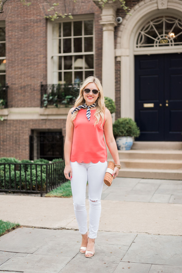 navy and white striped silk scarf, coral scalloped tank top, white jeans, gold lilly pulitzer wedges, wicker clutch