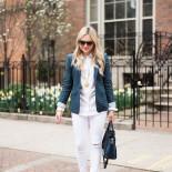 Polka Dot Blazer + White Jeans