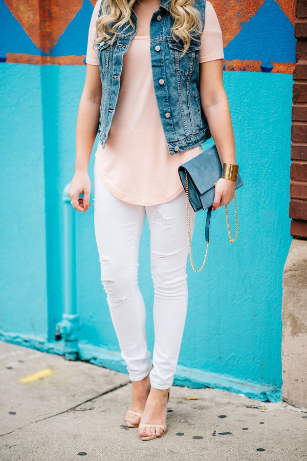 ripped white jeans outfit, denim vest, long tee shirt, cornflower blue handbag