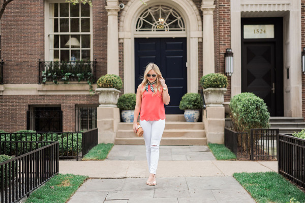 spring summer outfit coral tank top scallops with white jeans