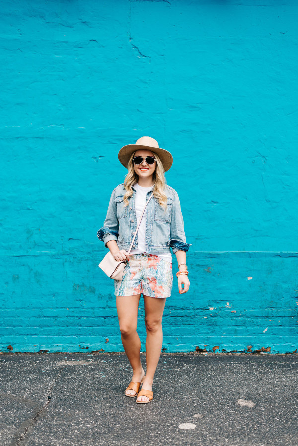 summer outfit ideas, straw hat, denim jacket, colorful shorts, leather sandals
