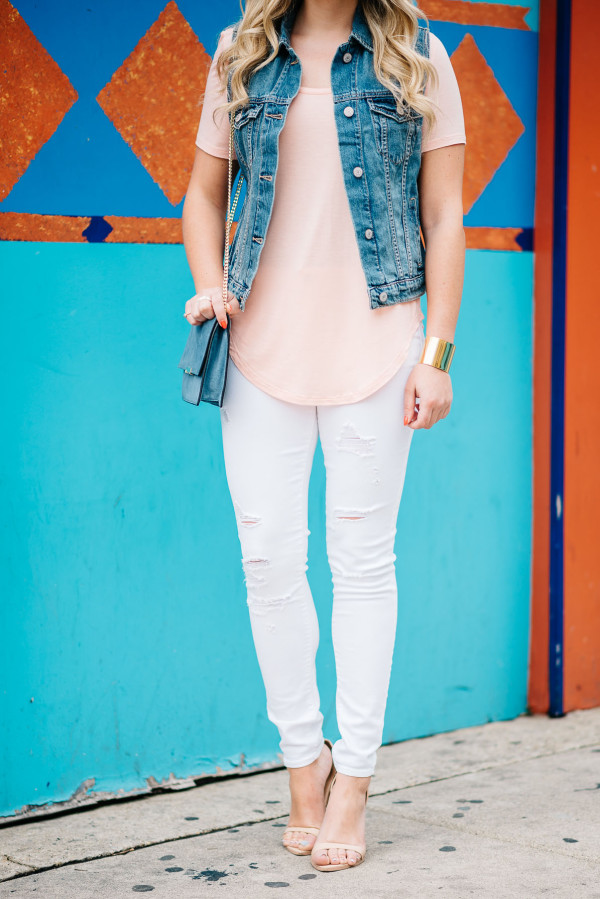 summer outfit white jeans, denim vest, ankle strap sandals, scoop tee shirt