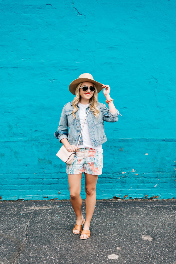 teal wall chicago, straw hat, denim jacket, printed shorts, leather sandals, spring summer outfit ideas