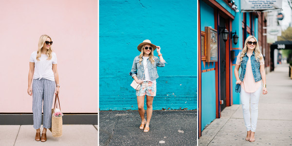 three ways to wear a tee shirt spring summer outfits
