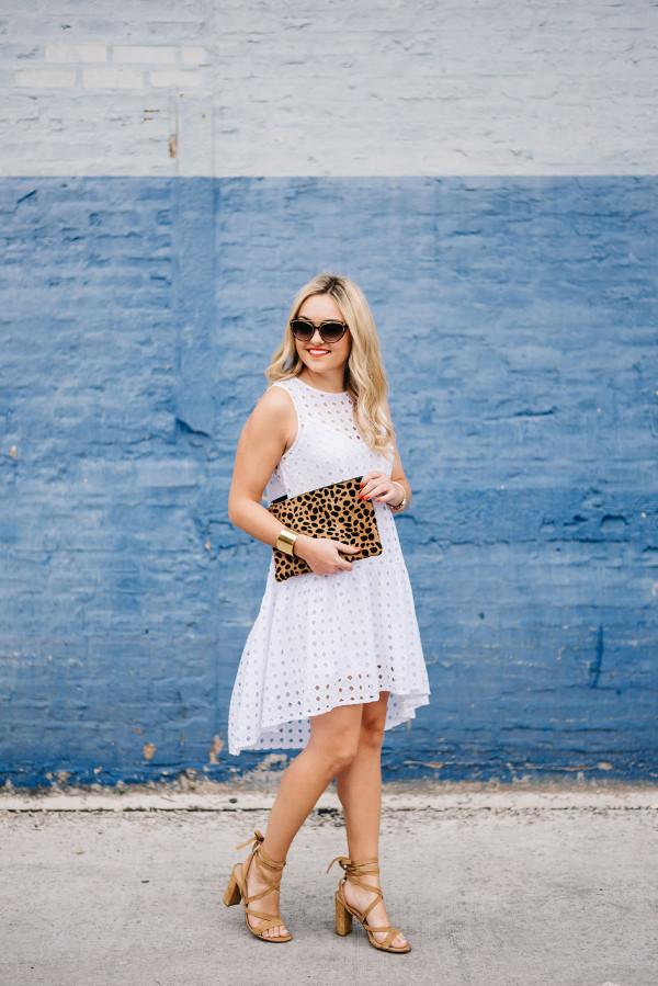 tom ford sunglasses, clare v leopard clutch, clayton eyelet dress, ivanka trump kiernan sandals