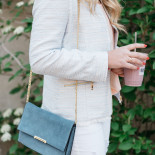 tweed jacket + white jeans