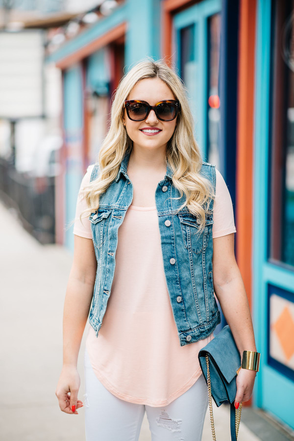 what to wear with a denim vest outfit ideas, coral tee shirt scoop neck round hem