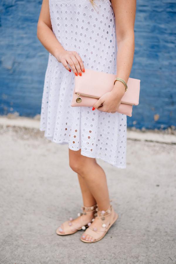 white dress, pom pom sandals