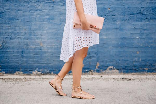 white dress with pom pom sandals loeffler randall